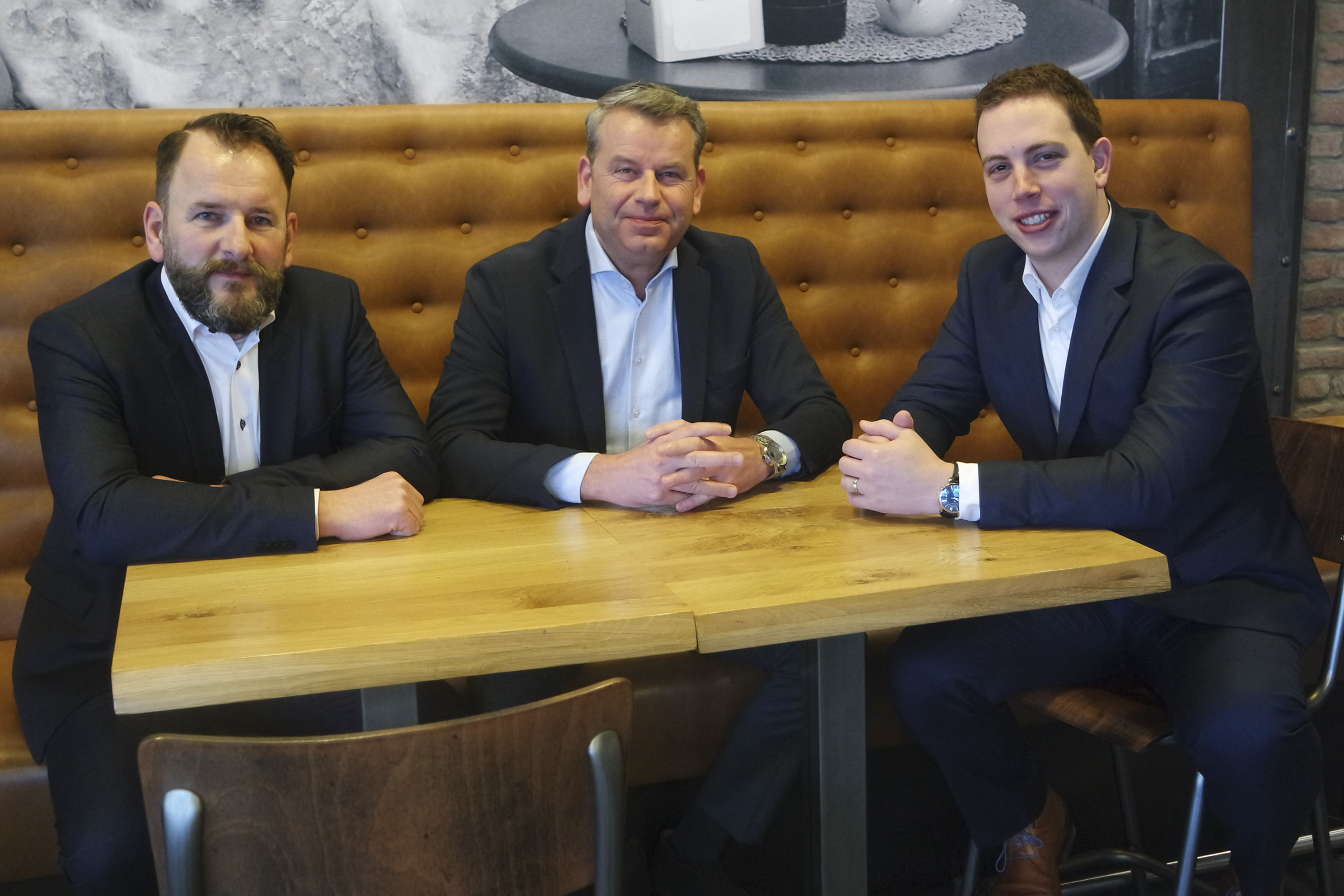 De directie Van Melik Food Groep (van links naar rechts: Marcel Maas (commercieel directeur), Charles Sampers (algemeen directeur) en Patrick Dreezens (financieel directeur). Bron: FranchiseFormules.NL