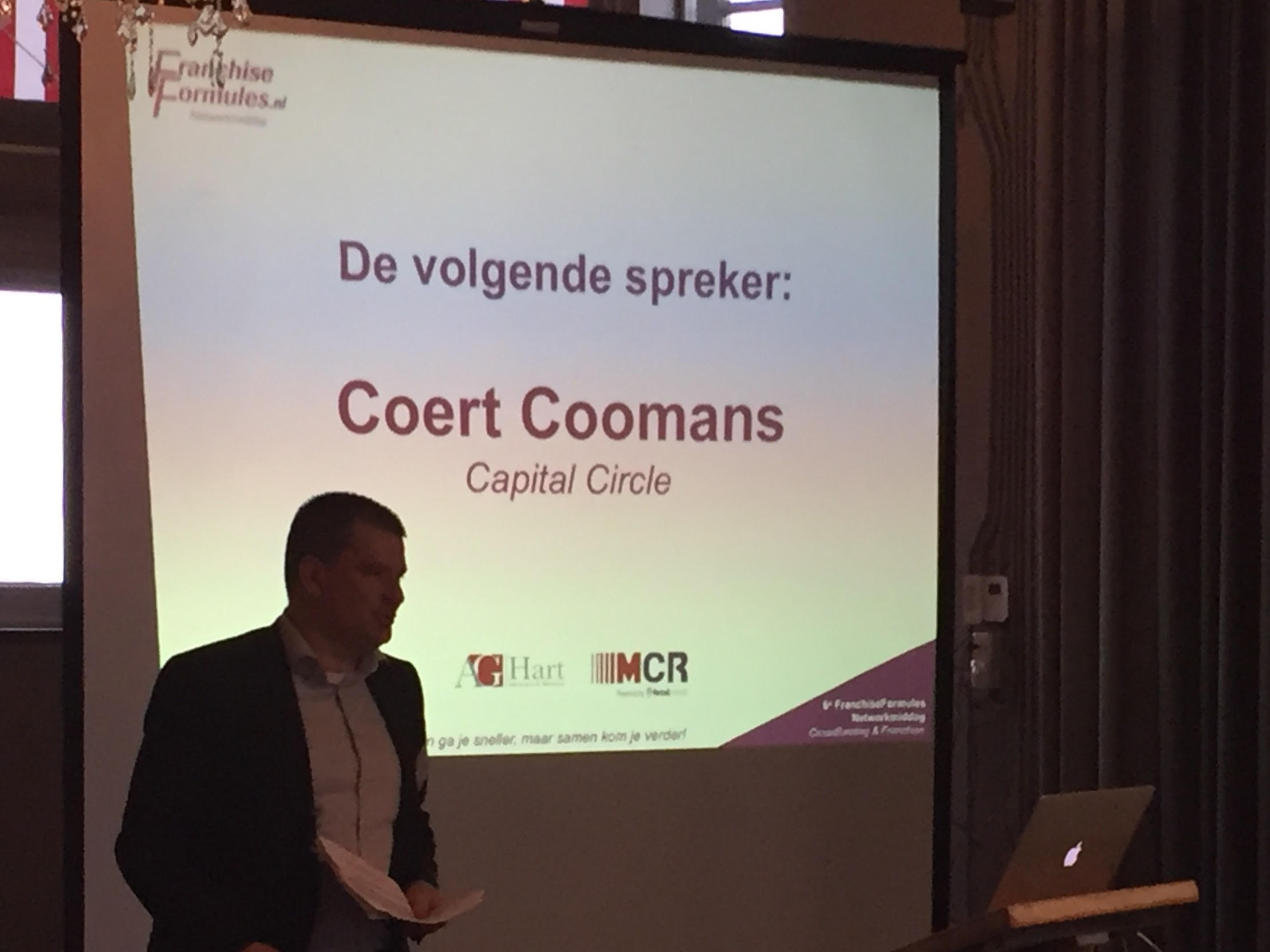 Capital Circle-CEO Coert Coomans hier op archieffoto tijdens de FranchiseFormules Netwerkmiddag 2016 in Hotel New York. Bron: FranchiseFormules.NL