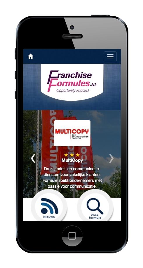 FranchiseFormules.NL geoptimaliseerd voor smartphone gebruikers. Meer dan 30% van onze bezoekers komt binnen via een smartphone of tablet (cijfers 2014). Bron: FranchiseFormules.NL