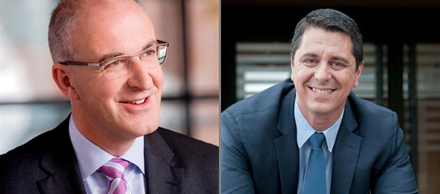 Links de huidige Algemeen Directeur van McDonald's Nederland, Jo Sempels. Rechts zijn opvolger Manu Steijaert. Bron: FranchiseFormules.NL